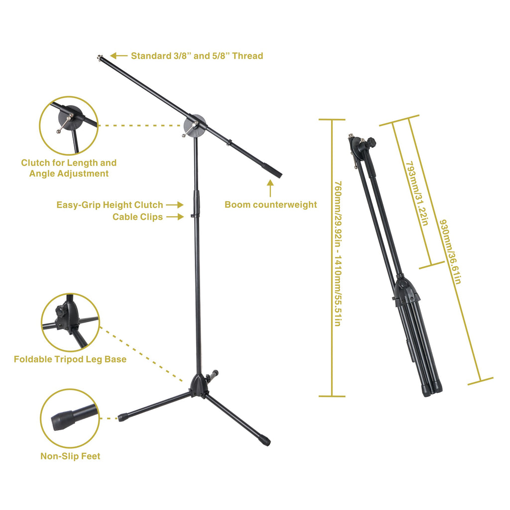 STMD-60B Sound Town Tripod Boom Microphone Stand - features, size and dimensions