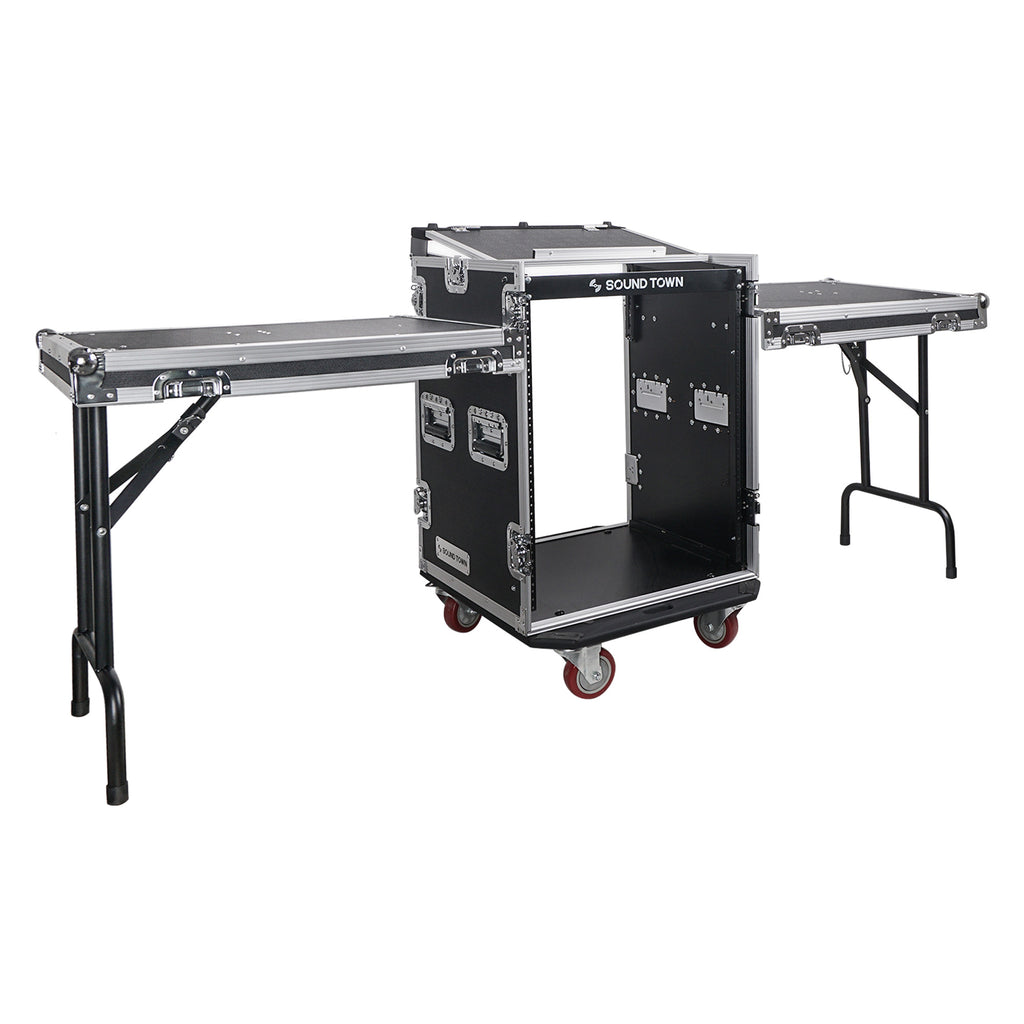 Sound Town STMR-14UWT2 14U (14 Space) PA/DJ Rack/Road/Flight ATA Server Case with Slant Mixer Top, Casters and 2 Standing Lid DJ Work Tables - Main