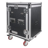 Sound Town STMR-14UWT2 14U (14 Space) PA/DJ Rack/Road/Flight ATA Server Case with Slant Mixer Top, Casters and 2 Standing Lid DJ Work Tables with Lid