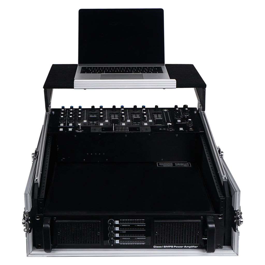 "Sound Town STMR-2ULT 2U (2 Space) PA/DJ Glide Style Road/Rack ATA Case with 11U Slant Mixer Top, 20"" Rackable Depth and Laptop Platform - with Laptop, Mixer, Amplifier, Front Panel"