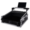 "Sound Town STMR-2ULT 2U (2 Space) PA/DJ Glide Style Road/Rack ATA Case with 11U Slant Mixer Top, 20"" Rackable Depth and Laptop Platform - with Laptop, Mixer, Amplifier, Left Panel"