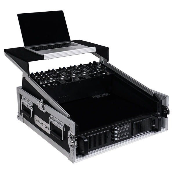 "Sound Town STMR-2ULT 2U (2 Space) PA/DJ Glide Style Road/Rack ATA Case with 11U Slant Mixer Top, 20"" Rackable Depth and Laptop Platform - with Laptop, Mixer, Amplifier, Right Panel"
