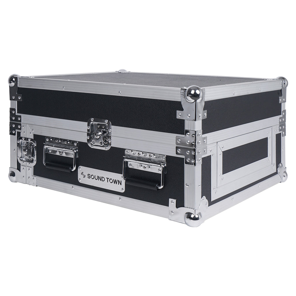 "Sound Town STMR-2ULT 2U (2 Space) PA/DJ Glide Style Road/Rack ATA Case with 11U Slant Mixer Top, 20"" Rackable Depth and Laptop Platform - with Lid"