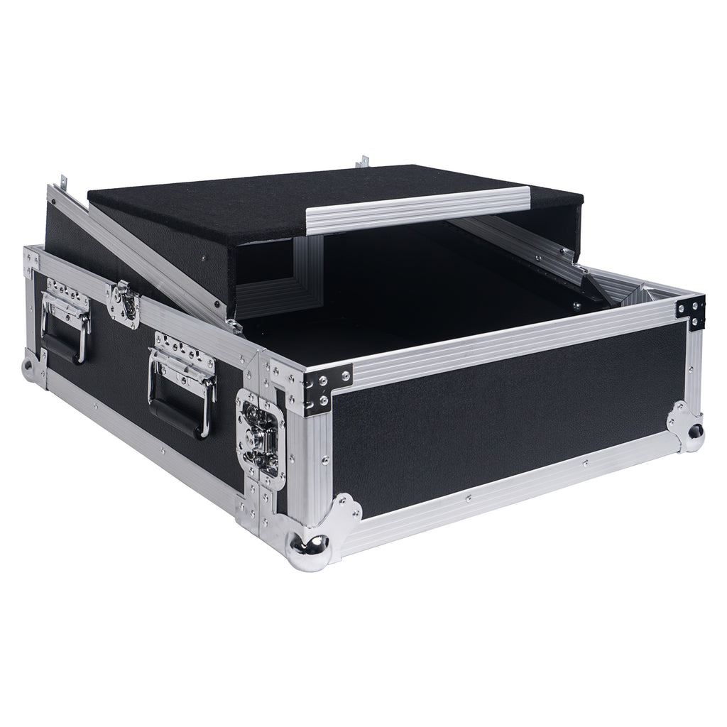 "Sound Town STMR-2ULT 2U (2 Space) PA/DJ Glide Style Road/Rack ATA Case with 11U Slant Mixer Top, 20"" Rackable Depth and Laptop Platform - without Lid"