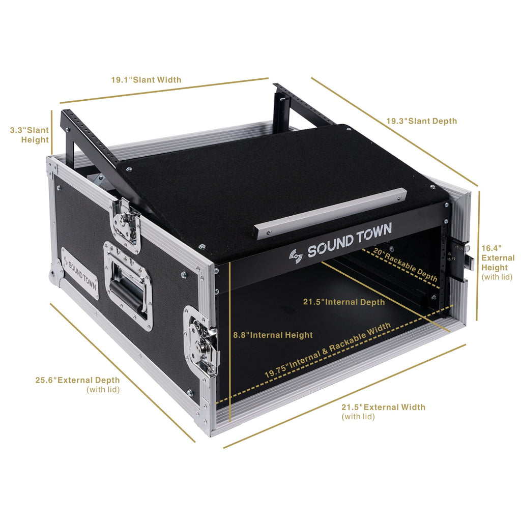Sound Town STMR-4US 4U 4 Space PA DJ RackRoad Case with 11U Slant Mixer Top, 20 inch Rackable Depth - Dimensions