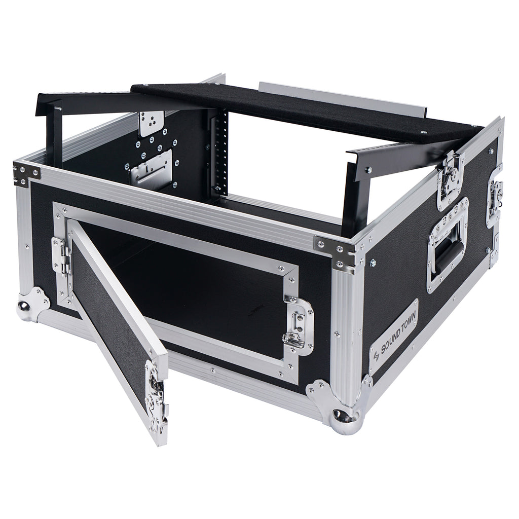 Sound Town STMR-4US 4U 4 Space PA DJ RackRoad Case with 11U Slant Mixer Top, 20 inch Rackable Depth - with Rear Hinged Door