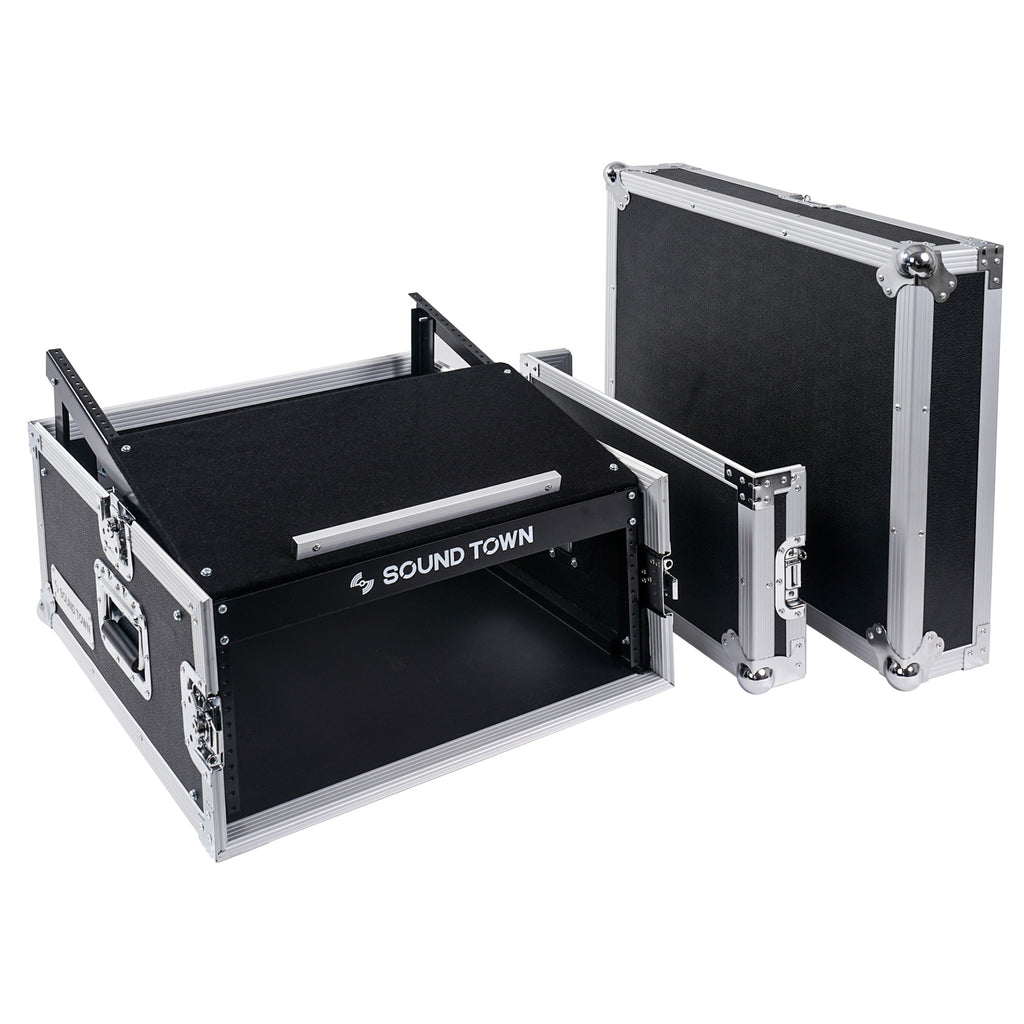 Sound Town STMR-4US 4U 4 Space PA DJ RackRoad Case with 11U Slant Mixer Top, 20 inch Rackable Depth - with removable covers lids