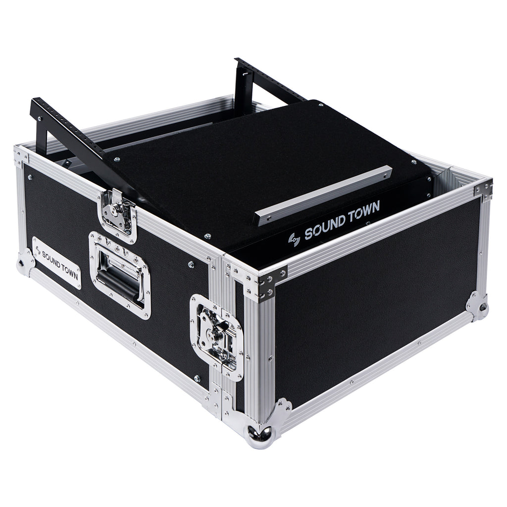 Sound Town STMR-4US 4U 4 Space PA DJ RackRoad Case with 11U Slant Mixer Top, 20 inch Rackable Depth - without Top Cover