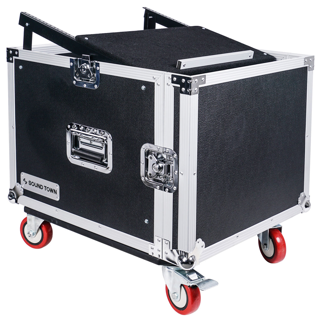 "Sound Town STMR-8UWS 8U (8-Space) PA DJ Rack/Road ATA Case with 11U Slant Mixer Top, 20"" Rackable Depth and Casters - with Top Cover"