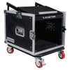 "Sound Town STMR-8UWS 8U (8-Space) PA DJ Rack/Road ATA Case with 11U Slant Mixer Top, 20"" Rackable Depth and Casters - Without Top Cover and Side Panel"