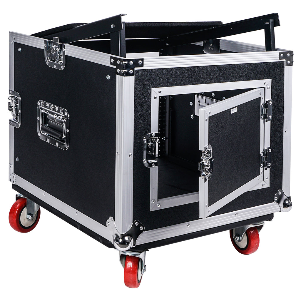 "Sound Town STMR-8UWS 8U (8-Space) PA DJ Rack/Road ATA Case with 11U Slant Mixer Top, 20"" Rackable Depth and Casters - with Adjustable Laptop Platform and Hinged Backdoor"
