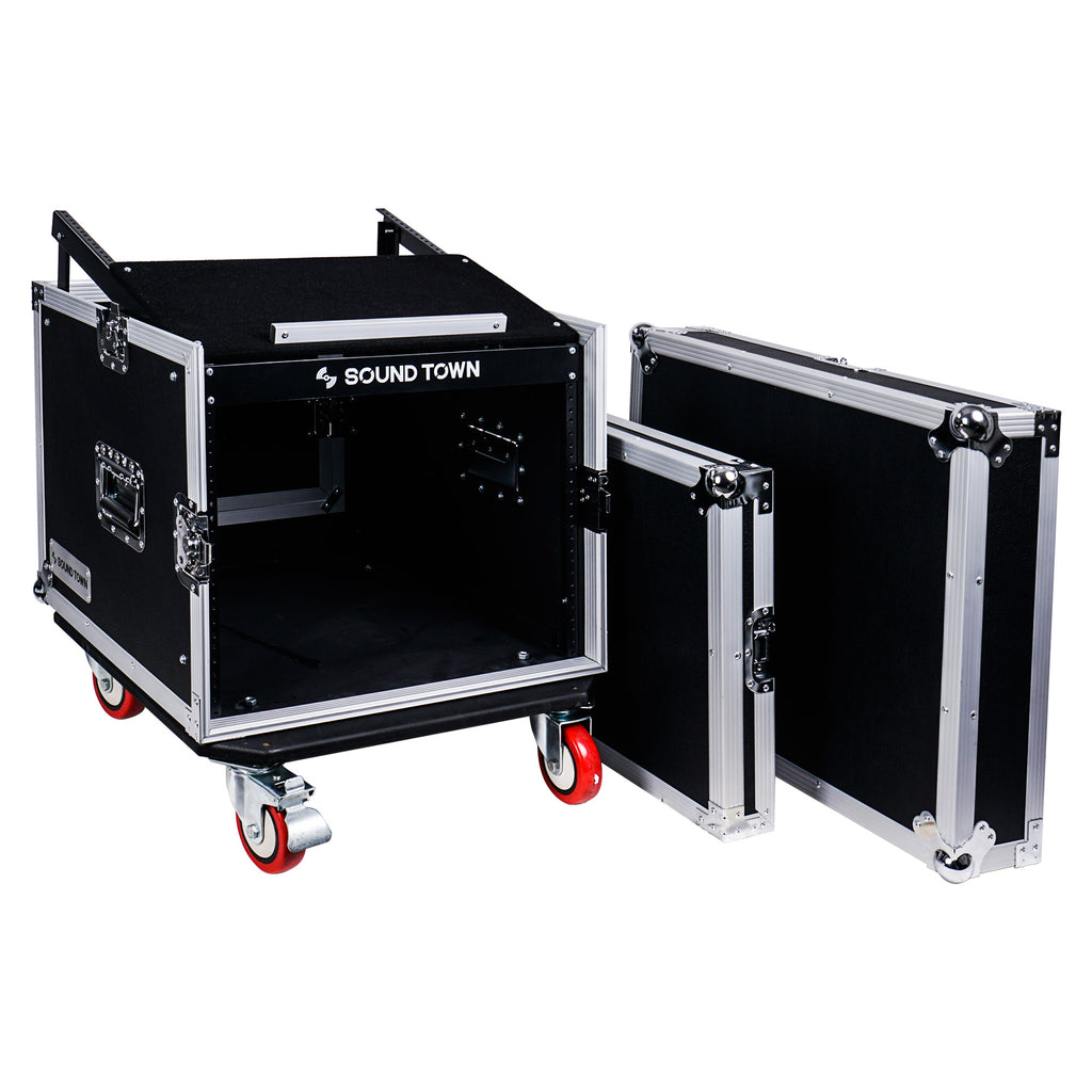 "Sound Town STMR-8UWS 8U (8-Space) PA DJ Rack/Road ATA Case with 11U Slant Mixer Top, 20"" Rackable Depth and Casters - without Top and Front covers"
