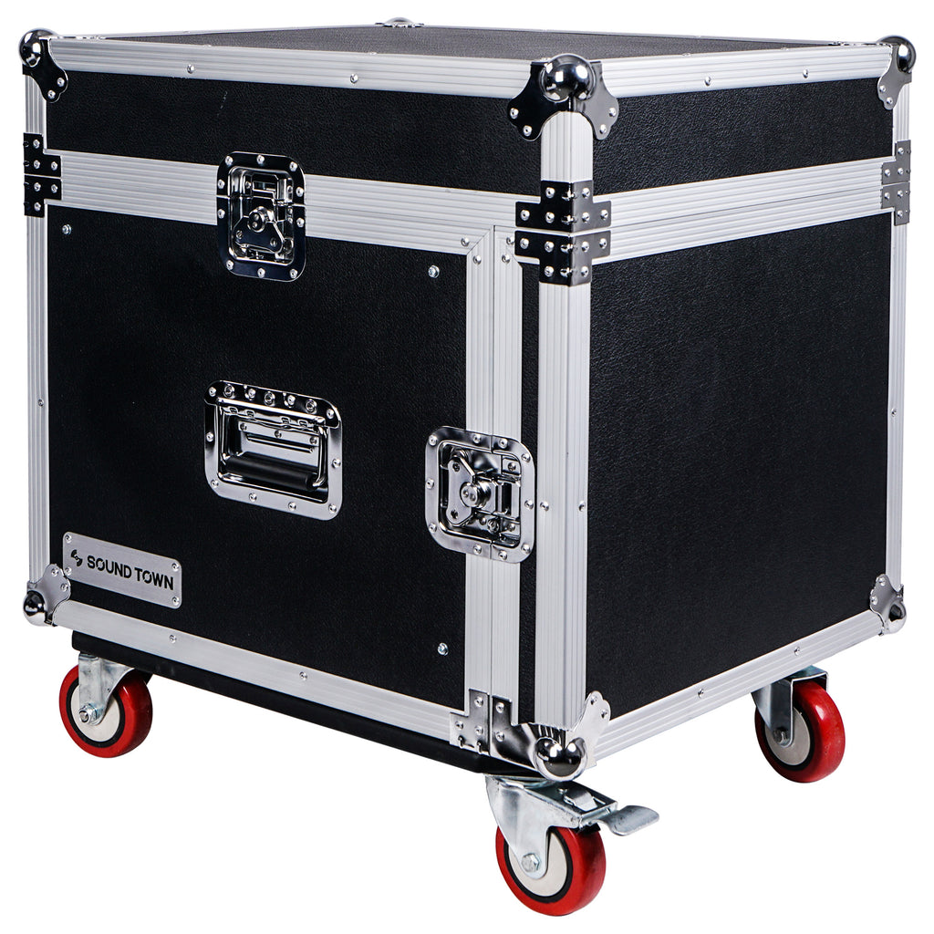 "Sound Town STMR-8UWS 8U (8-Space) PA DJ Rack/Road ATA Case with 11U Slant Mixer Top, 20"" Rackable Depth and Casters - Main"