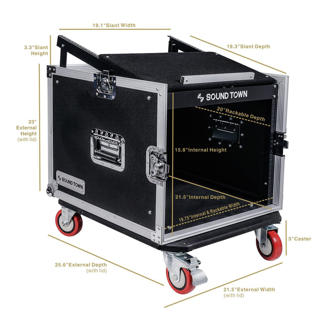 "Sound Town STMR-8UWS 8U (8-Space) PA DJ Rack/Road ATA Case with 11U Slant Mixer Top, 20"" Rackable Depth and Casters - Internal and External Dimensions"