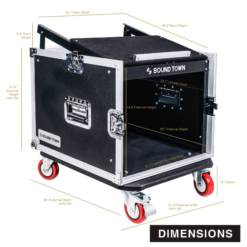 Sound Town STMR-8UW 8U PA DJ Road Rack ATA Console Case with 13U Slant Mixer Top and Casters - Dimensions