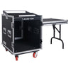 Sound Town STMR-S12UWT 12U (12 Space) PA/DJ Rack/Road ATA Case with 11U Slant Mixer Top, 20'' Rackable Depth, DJ Work Station and Casters - Detachable Side Table