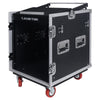 Sound Town STMR-S12UWT 12U (12 Space) PA/DJ Rack/Road ATA Case with 11U Slant Mixer Top, 20'' Rackable Depth, DJ Work Table and Casters - Side Panel
