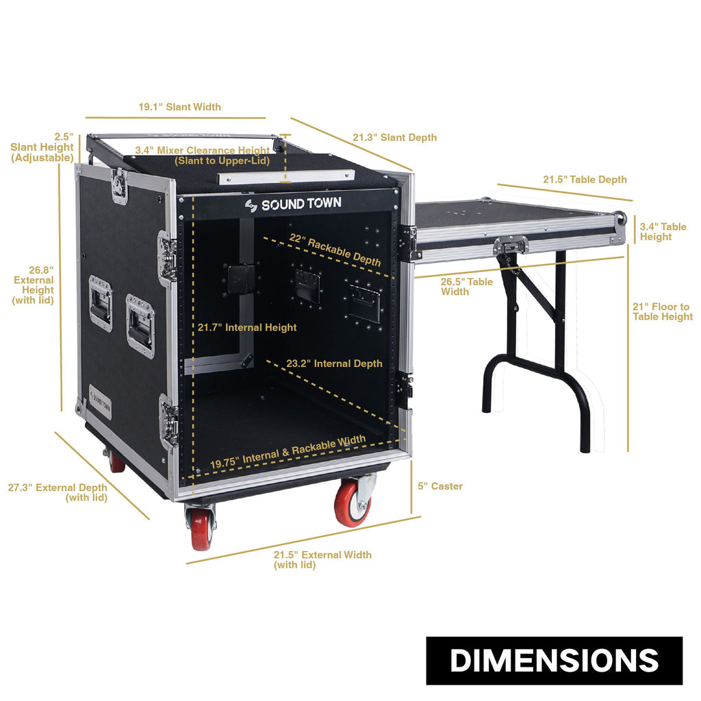 Sound Town STMR-S12UWT 12U (12 Space) PA/DJ Rack/Road ATA Case with 11U Slant Mixer Top, 20'' Rackable Depth, DJ Work Table and Casters - Internal and External Size Dimensions