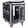 Sound Town STMR-S12UWT 12U (12 Space) PA/DJ Rack/Road ATA Case with 11U Slant Mixer Top, 20'' Rackable Depth, DJ Work Table and Casters - Butterfly Lock Hinged Back Door Compartment for Cable Management
