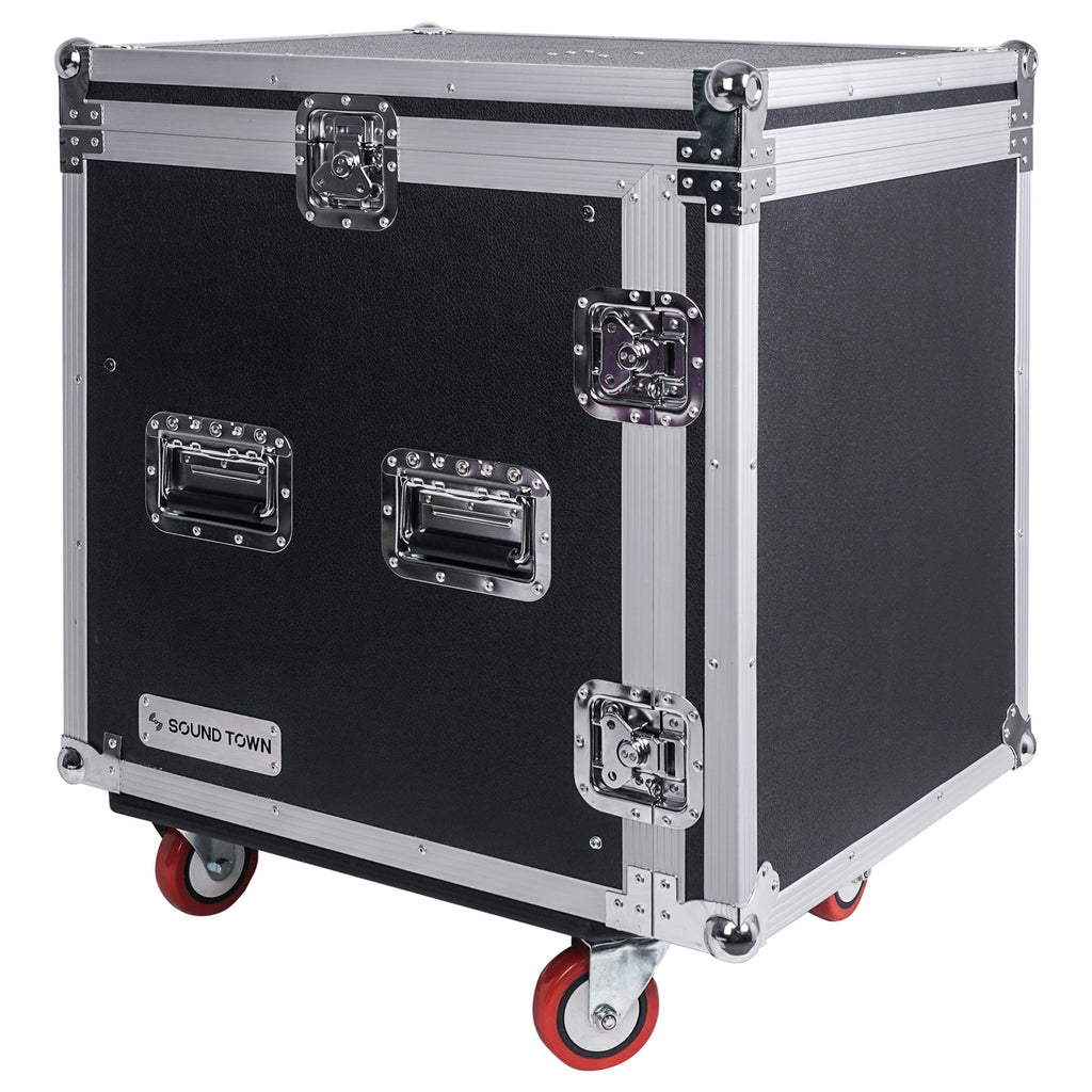 Sound Town STMR-S12UWT 12U (12 Space) PA/DJ Rack/Road ATA Case with 11U Slant Mixer Top, 20'' Rackable Depth, DJ Work Table and Casters - with Lid Cover, On the Go