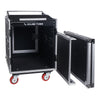 Sound Town STMR-S12UWT 12U (12 Space) PA/DJ Rack/Road ATA Case with 11U Slant Mixer Top, 20'' Rackable Depth, DJ Work Table and Casters with Removable Top and Front Lid Covers