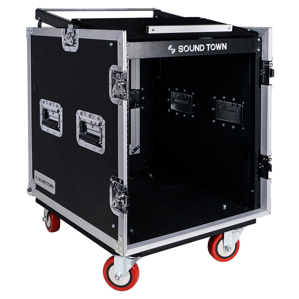 Sound Town STMR-S12UW 12-Space PA DJ Rack Road Flight Case with Casters, Slant Mixer Top and 25.6 inches Lid to Lid Depth - Right Panel