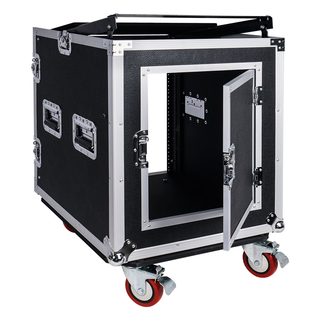 Sound Town STMR-S12UW 12-Space PA DJ Rack Road Flight Case with Casters, Slant Mixer Top and 25.6 inches Lid to Lid Depth Right Panel - Inside