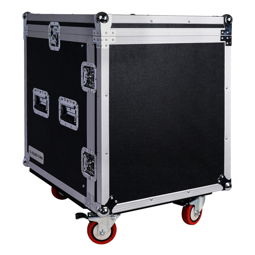 Sound Town STMR-S12UW 12-Space PA DJ Rack Road Flight Case with Casters, Slant Mixer Top and 25.6 inches Lid to Lid Depth Right Panel - Lid On