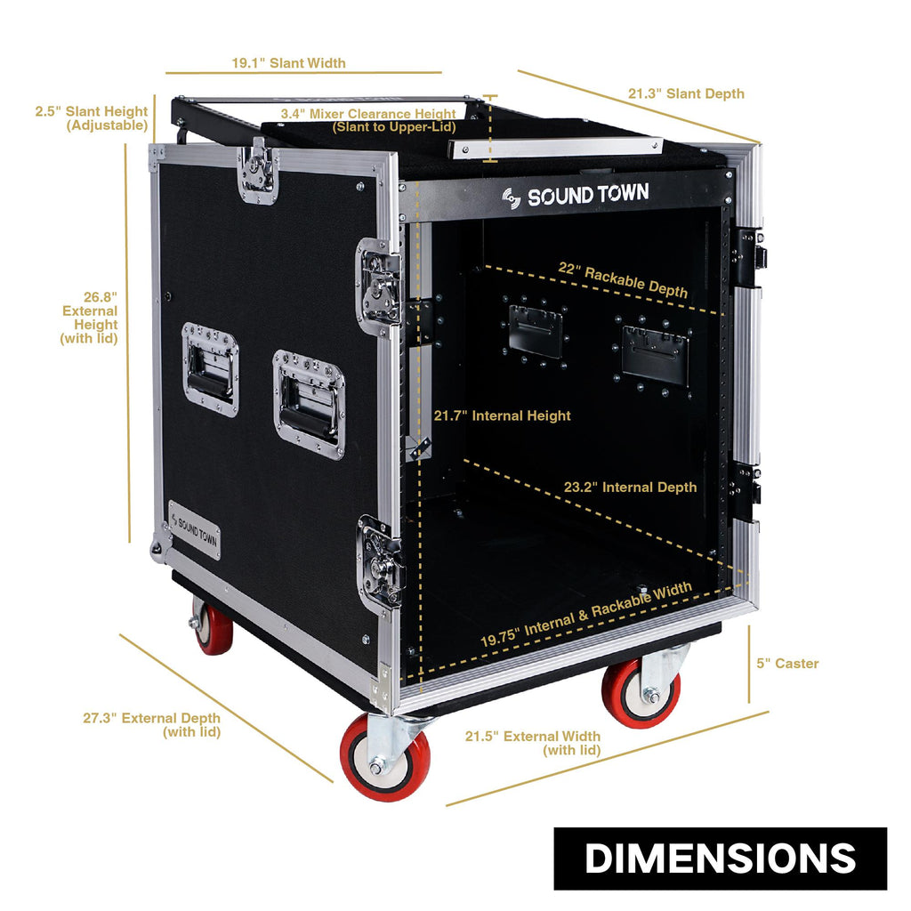 Sound Town STMR-S12UW 12U (12 Space) PA/DJ Road/Rack ATA Console Case with 12.5U Slant Mixer Top and Casters