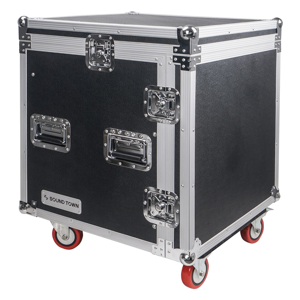 "Sound Town STMR-SP12UW Shock Mount 12U (12 Space) PA/DJ Rack/Road ATA Case with 20"" Rackable Depth, 11U Slant Mixer Top and Casters - Portable and Transportable"
