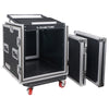 "Sound Town STMR-SP12UW Shock Mount 12U (12 Space) PA/DJ Rack/Road ATA Case with 20"" Rackable Depth, 11U Slant Mixer Top and Casters - Removable Top and Front Cover Lids"