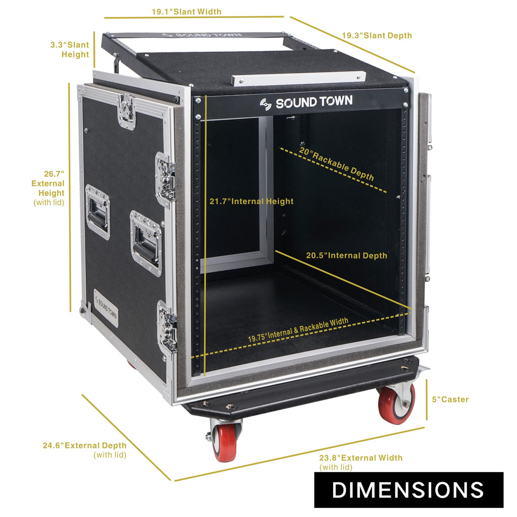 "Sound Town STMR-SP12UW Shock Mount 12U (12 Space) PA/DJ Rack/Road ATA Case with 20"" Rackable Depth, 11U Slant Mixer Top and Casters - Internal / External Size and Dimensions"