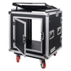 "Sound Town STMR-SP12UW Shock Mount 12U (12 Space) PA/DJ Rack/Road ATA Case with 20"" Rackable Depth, 11U Slant Mixer Top and Casters - Hinged Back Door for Easy Cable Access"