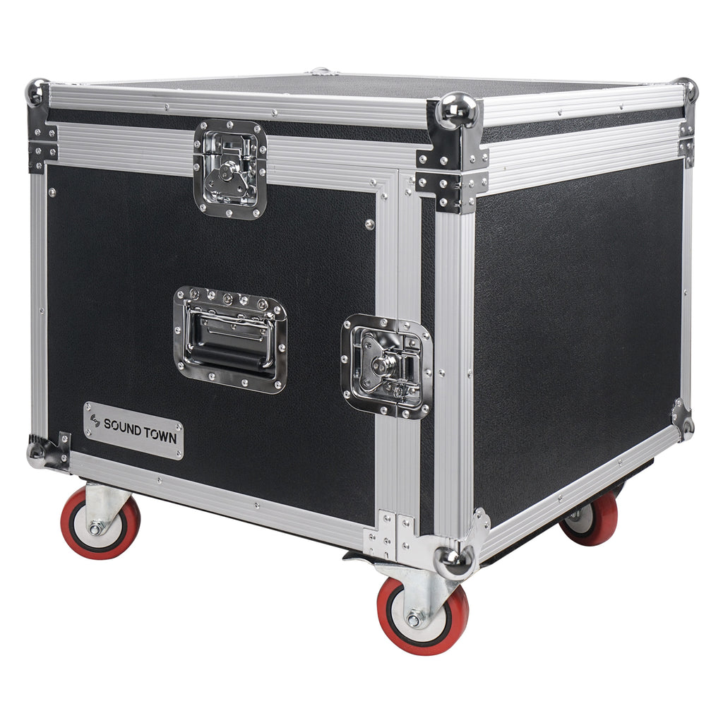 "Sound Town STMR-SP8UW Shock Mount 8U (8 Space) PA/DJ Rack/Road ATA Case with 20"" Rackable Depth, 11U Slant Mixer Top and Casters - Transportable, Portable"