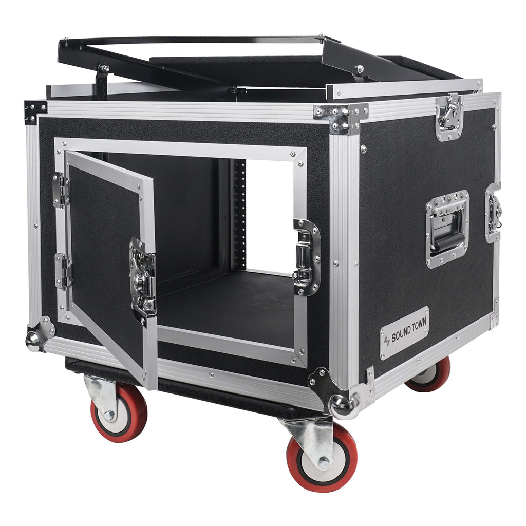 "Sound Town STMR-SP8UW Shock Mount 8U (8 Space) PA/DJ Rack/Road ATA Case with 20"" Rackable Depth, 11U Slant Mixer Top and Casters - Hinged Recessed Back Door for Cable Management"
