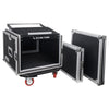 "Sound Town STMR-SP8UW Shock Mount 8U (8 Space) PA/DJ Rack/Road ATA Case with 20"" Rackable Depth, 11U Slant Mixer Top and Casters - Removable Top and Front Cover"