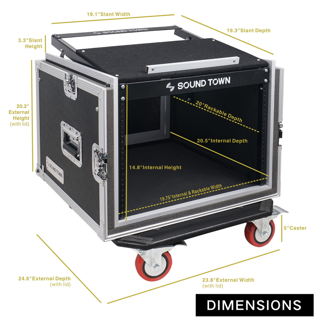 "Sound Town STMR-SP8UW Shock Mount 8U (8 Space) PA/DJ Rack/Road ATA Case with 20"" Rackable Depth, 11U Slant Mixer Top and Casters - Size and Dimensions"