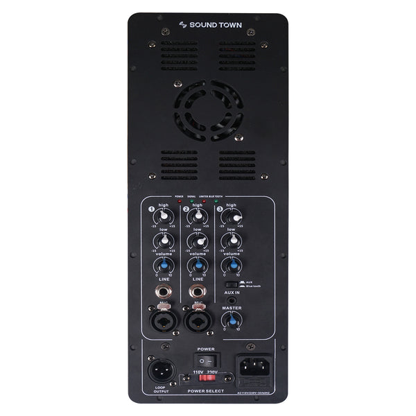 Sound Town STPA3L-400D Class-D 400W RMS Plate Amplifier for Full-range Loudspeaker Cabinets w/ Bluetooth, 3-Channel Mixer - Front Panel