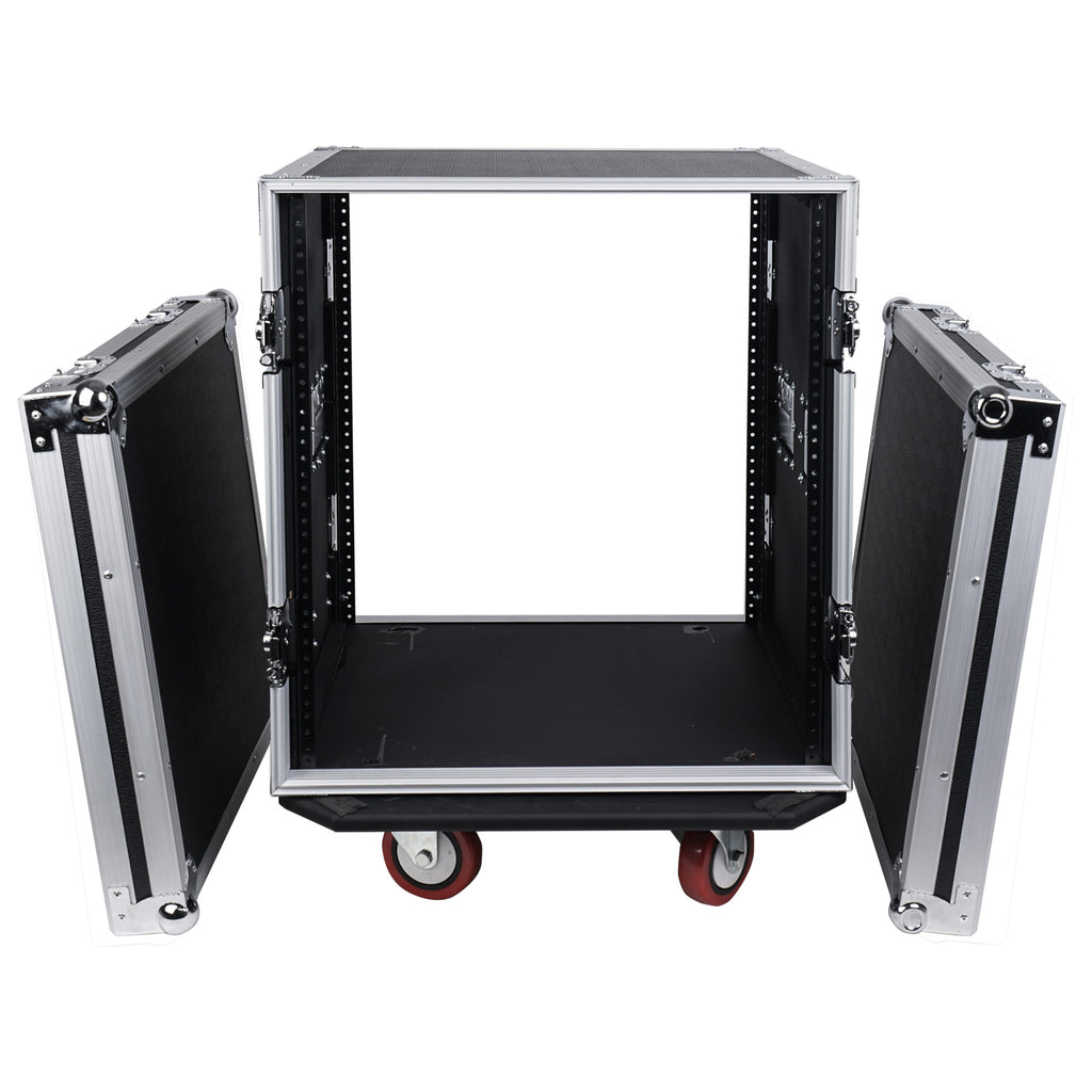 "Sound Town STRC-12UW 12U (12 Space) PA DJ Rack Road Flight Case with 17"" Depth, Casters, Plywood - Internal Compartment with removable front and rear lid covers"