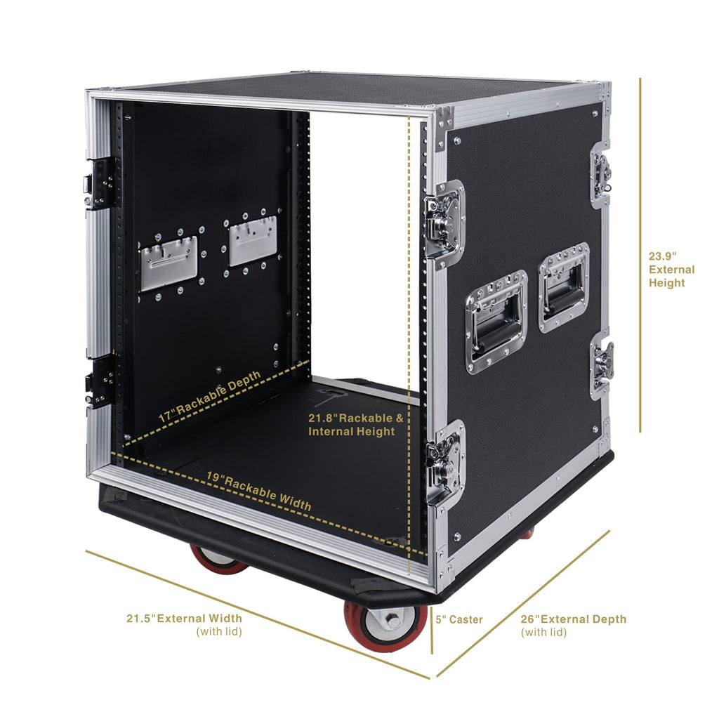 "Sound Town STRC-12UW 12U (12 Space) PA DJ Rack Road Flight Case with 17"" Depth, Casters, Plywood - size, internal and external dimensions"