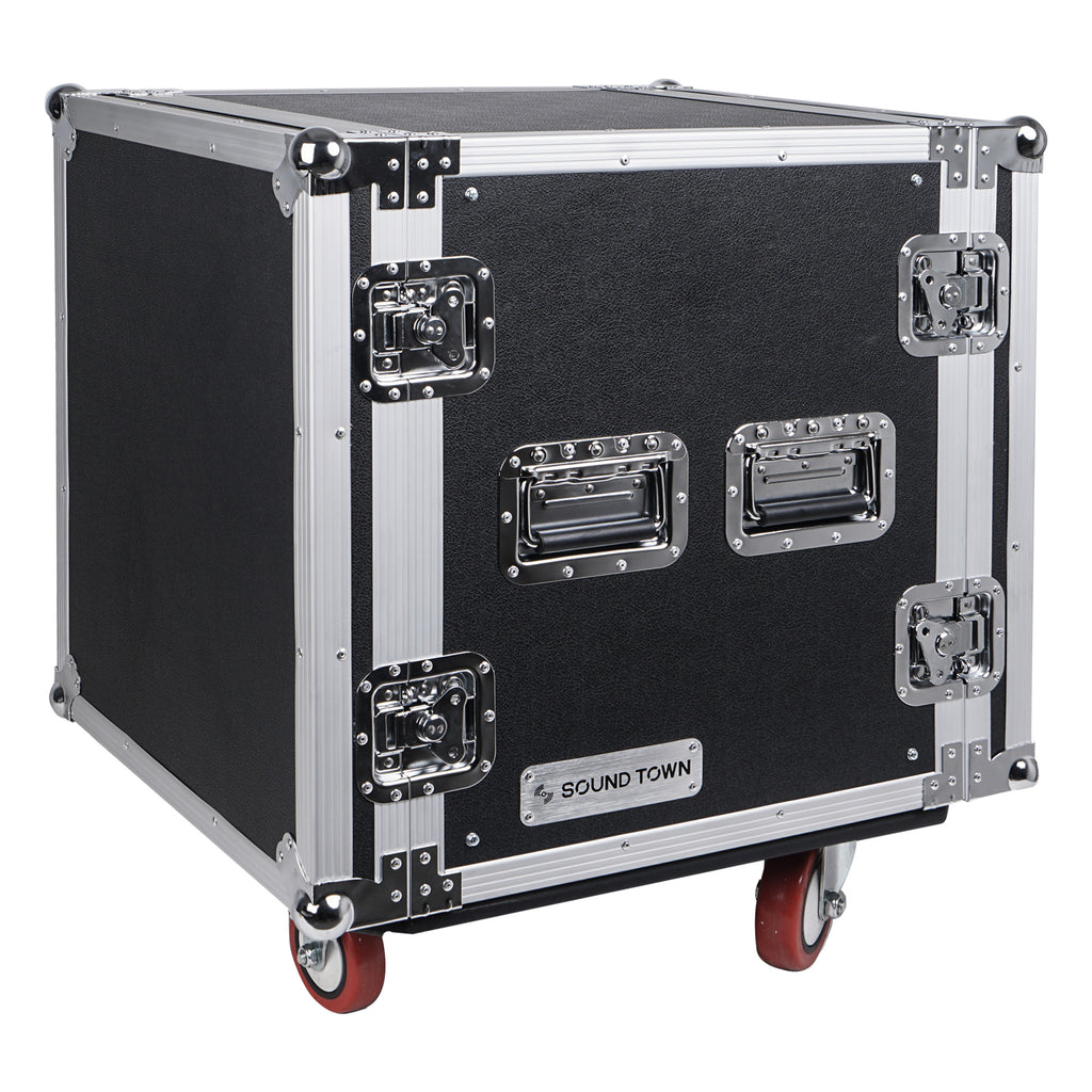 "Sound Town STRC-12UW 12U (12 Space) PA DJ Rack Road Flight Case with 17"" Depth, Casters, Plywood - Right Panel"