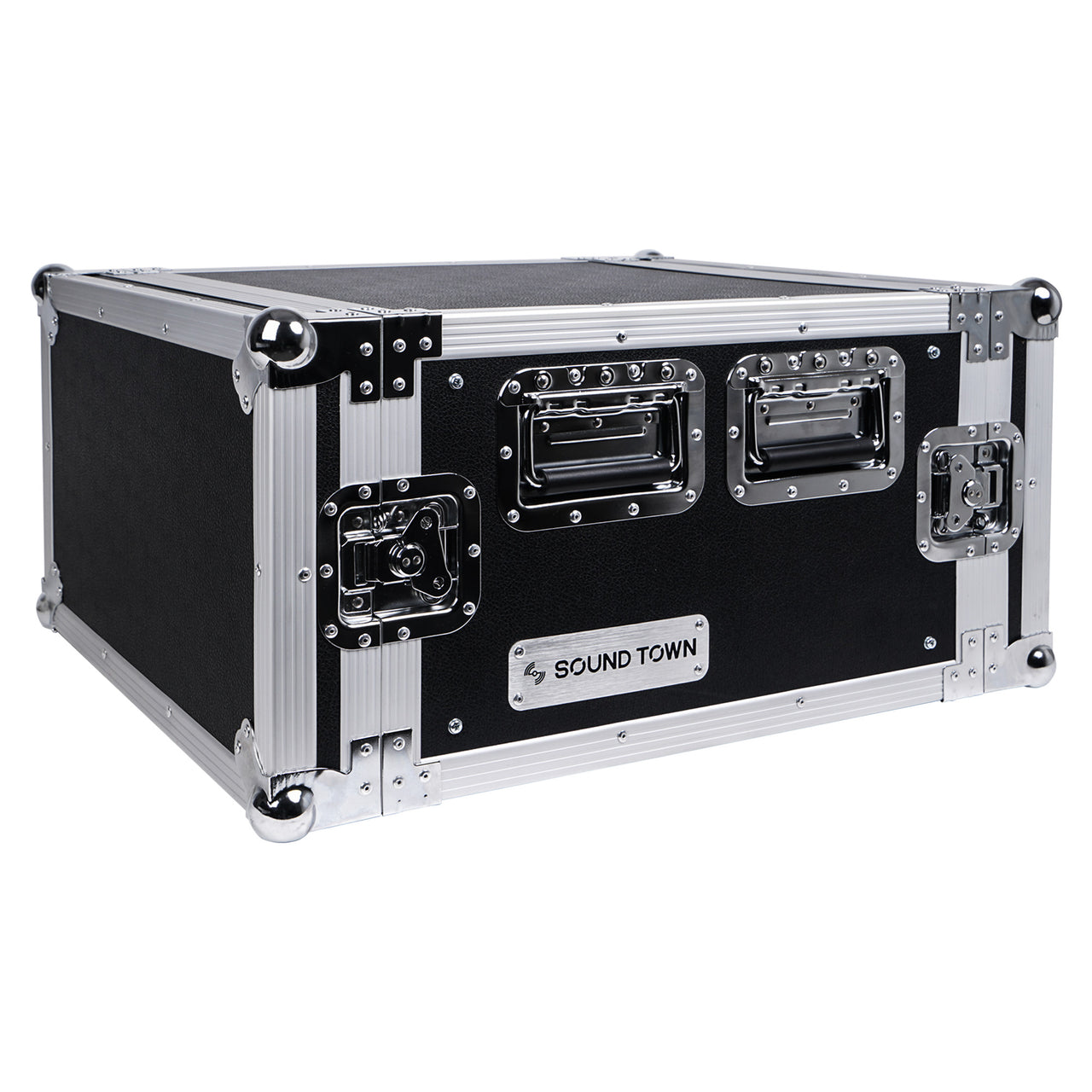 "Sound Town STRC-6U 6U (6 Space) PA DJ Rack Road Flight Case with 17"" Depth, Plywood, Metal Ball Corners - Right Panel"