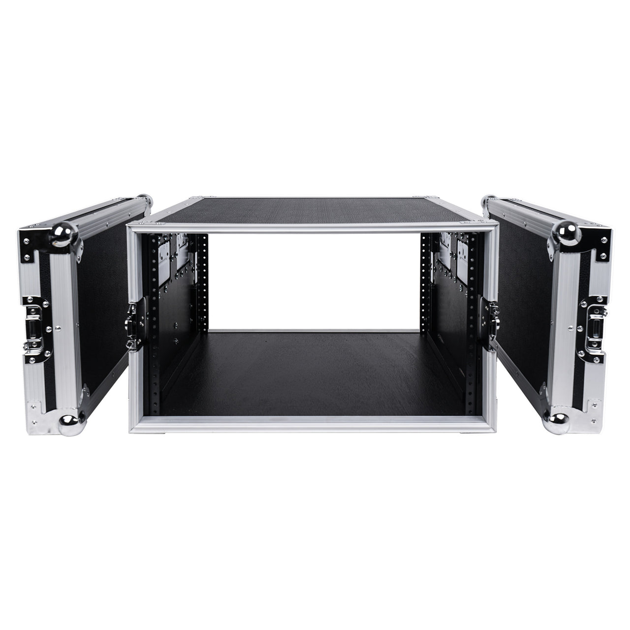 "Sound Town STRC-6U 6U (6 Space) PA DJ Rack Road Flight Case with 17"" Depth, Plywood, Metal Ball Corners - inner compartment with removable cover lids"