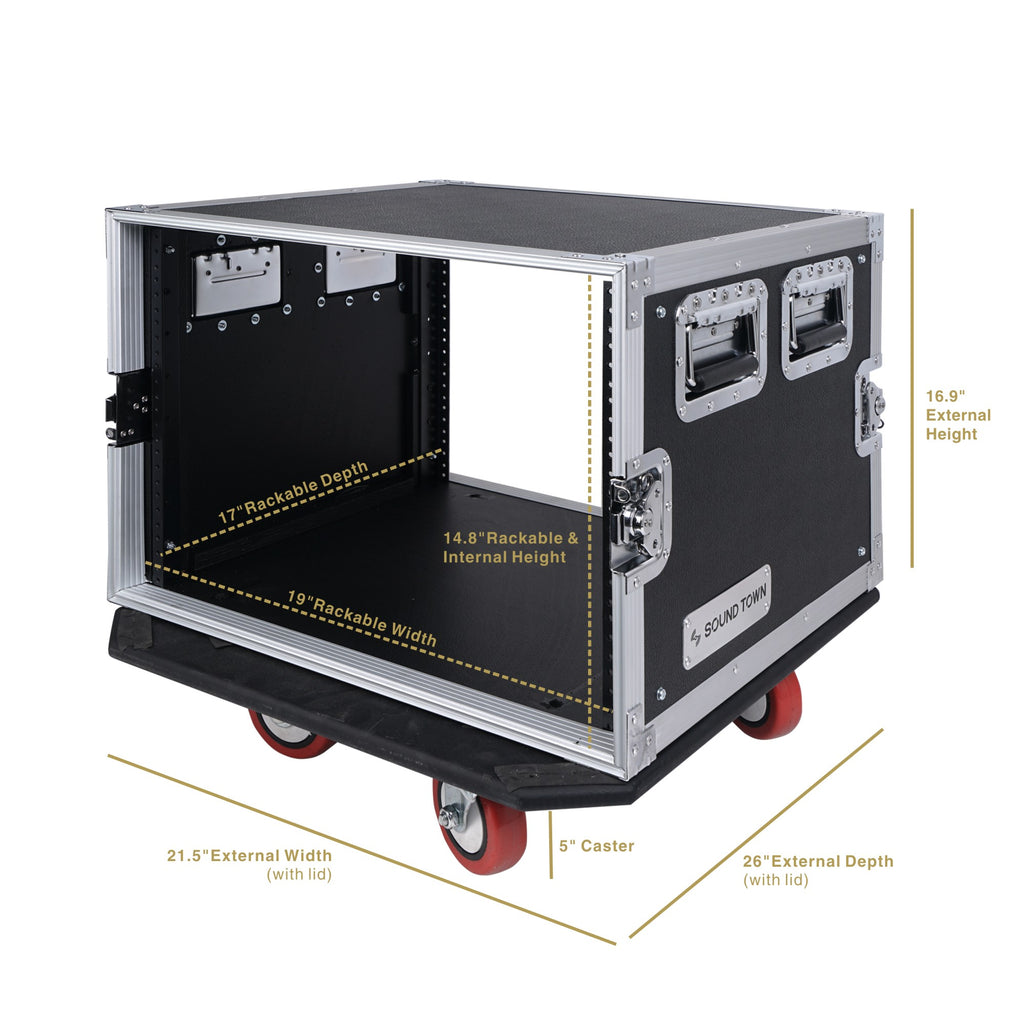 "Sound Town STRC-8UW STRC Series 8U (8 Space) PA/DJ Rack/Road Case with 17"" Depth, Casters, Plywood - size, internal and external dimensions"