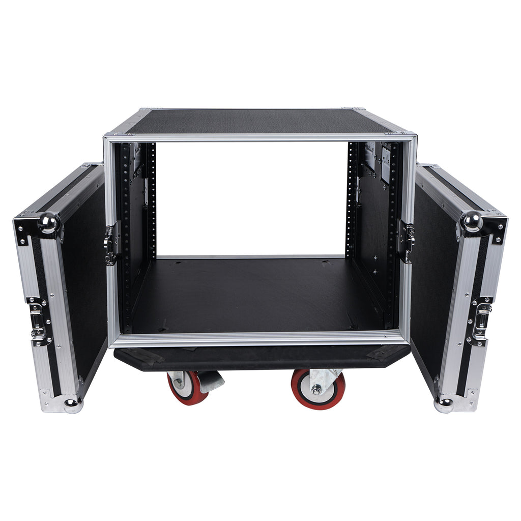 "Sound Town STRC-8UW STRC Series 8U (8 Space) PA/DJ Rack/Road Case with 17"" Depth, Casters, Plywood - internal compartment with removable cover lids"
