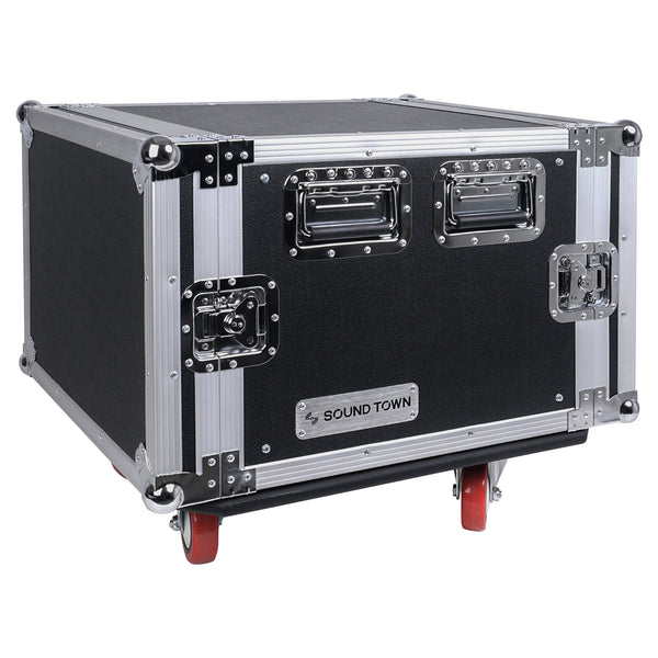 "Sound Town STRC-8UW STRC Series 8U (8 Space) PA/DJ Rack/Road Case with 17"" Depth, Casters, Plywood - Right Panel"