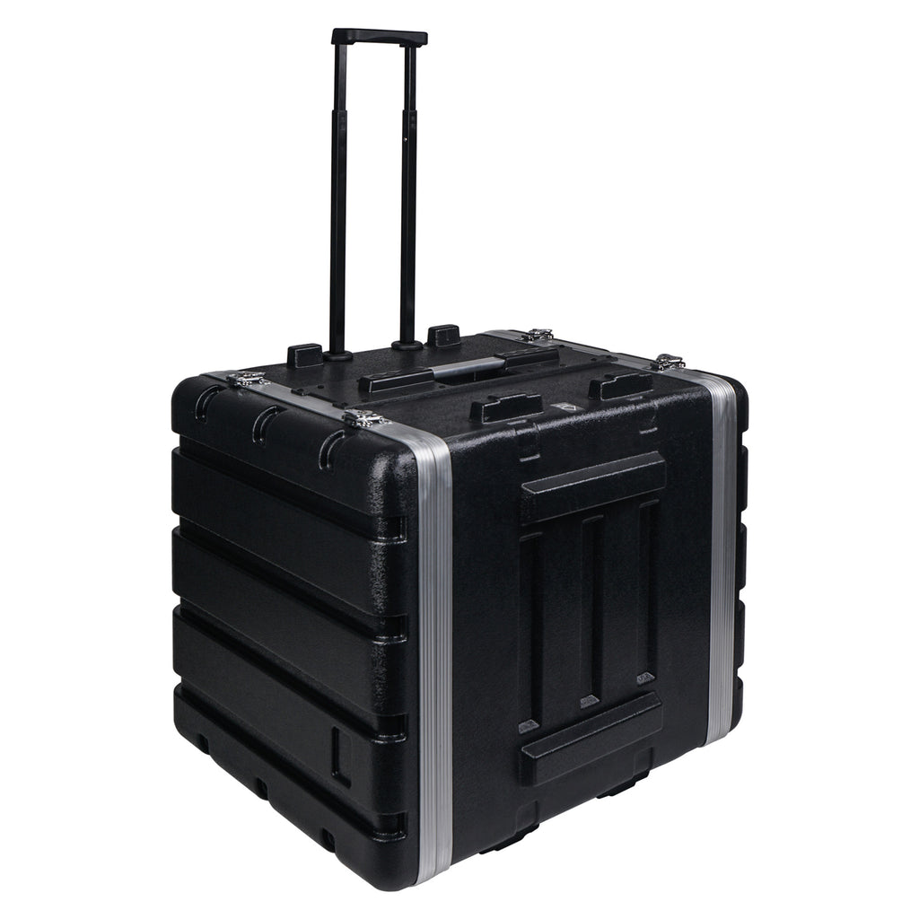 "Sound Town STRC-A10UT Lightweight and Compact 10U (10 Space) PA DJ ABS Rack/Road Case, 19"" Depth, Retractable Handle, Wheels and Heavy-Duty Latches - 2"