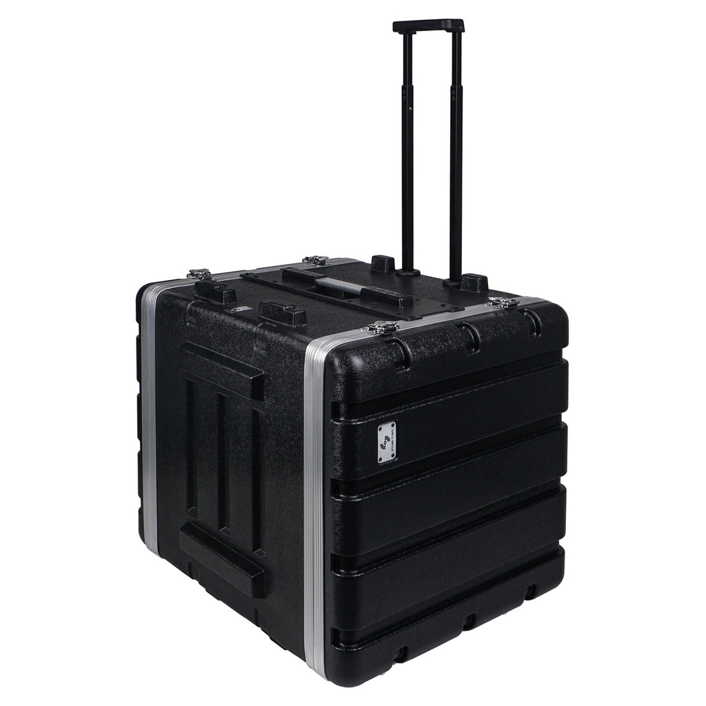 "Sound Town STRC-A10UT Lightweight and Compact 10U (10 Space) PA DJ ABS Rack/Road Case, 19"" Depth, Retractable Handle, Wheels and Heavy-Duty Latches - 4"