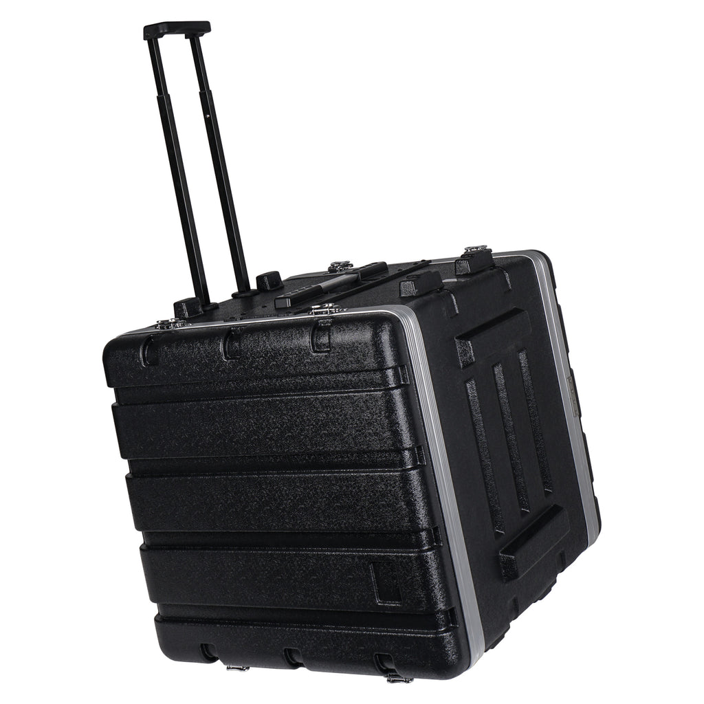 "Sound Town STRC-A10UT Lightweight and Compact 10U (10 Space) PA DJ ABS Rack/Road Case, 19"" Depth, Retractable Handle, Wheels and Heavy-Duty Latches - 5"