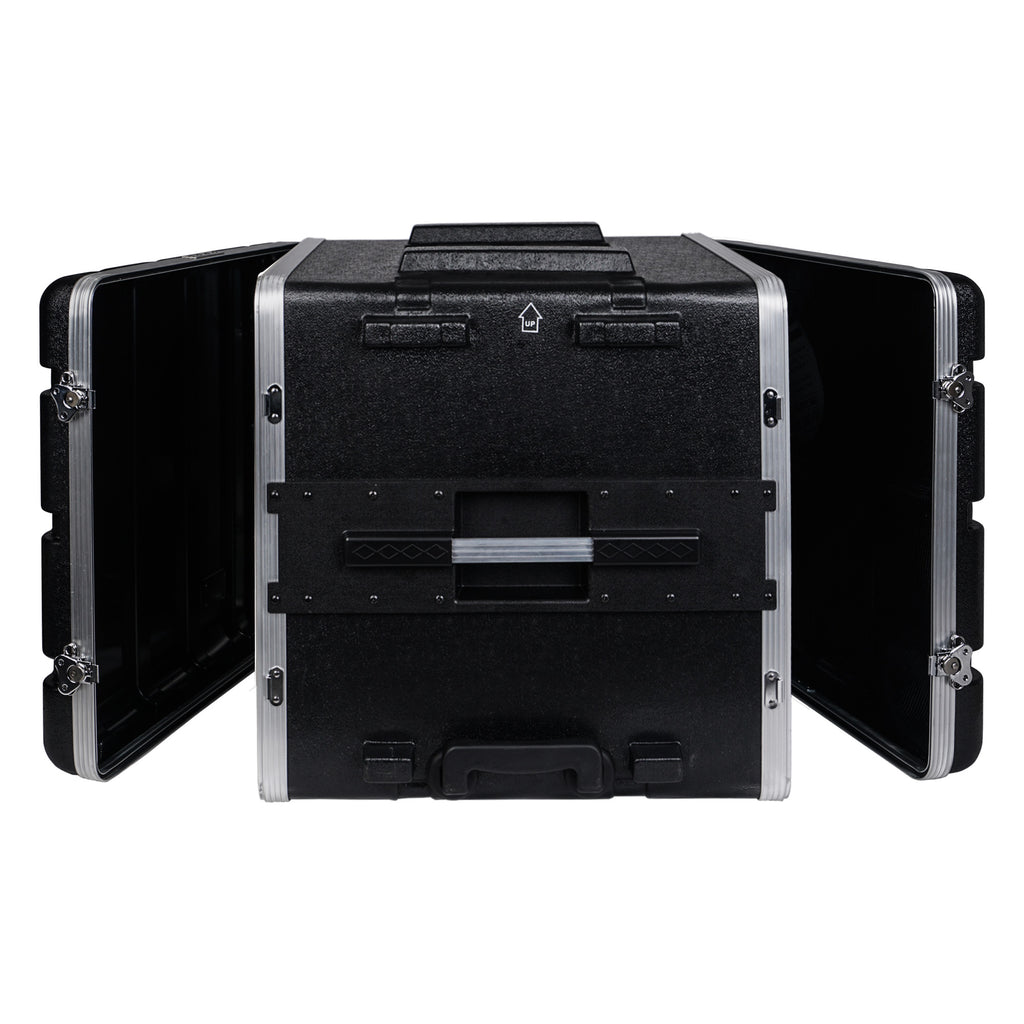 "Sound Town STRC-A10UT Lightweight and Compact 10U (10 Space) PA DJ ABS Rack/Road Case, 19"" Depth, Retractable Handle, Wheels and Heavy-Duty Latches - Top and Bottom Open"